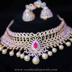 Beautfiful Designer Diamond Necklace Set with Jhumka