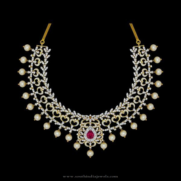 Designer Diamond Pearl Necklace