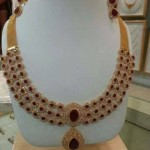 Gold CZ Stone Ruby Necklace