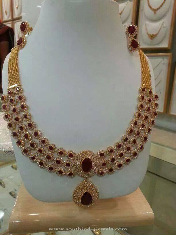 Gold CZ Stone Jewellery Necklace