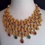22K Gold CZ Stone Choker Necklace