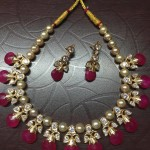 Latest Model Gold Pearl Ruby Necklace