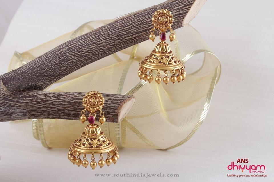 Gold Antique Jhumka Patterns