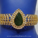 Gold Bangle with Green Stone