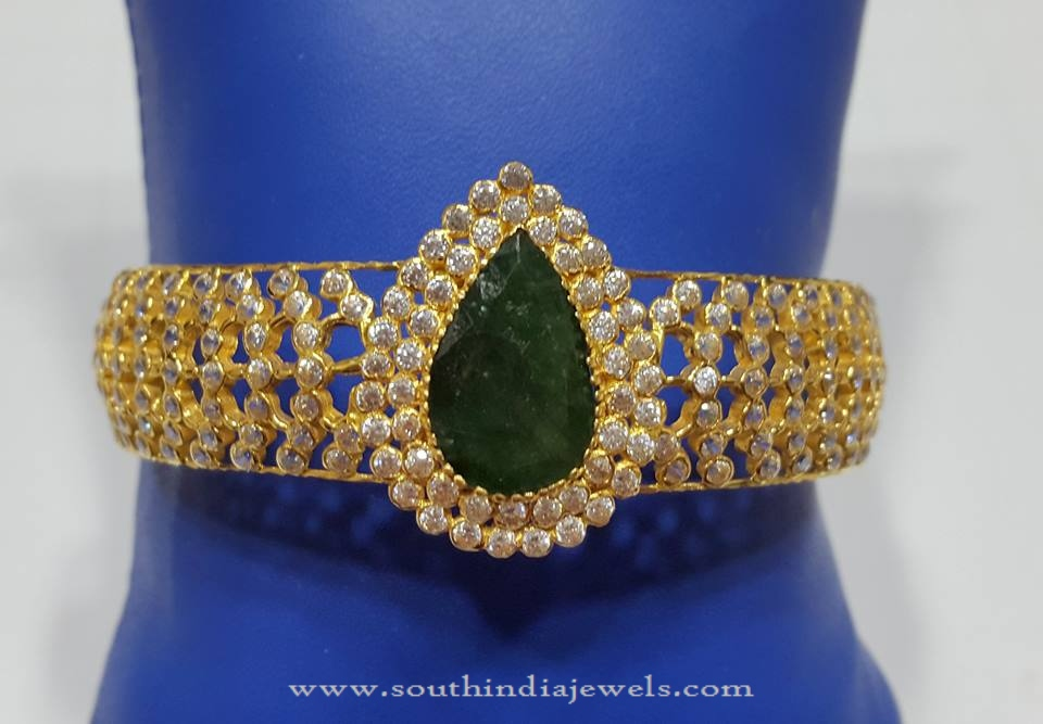 Gold Bangles with Green Stones