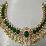 Gold Emerald Necklace with South Sea Pearls