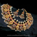 Gold Plated Antique Pearl Necklace