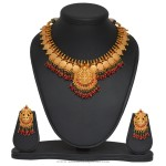 Gold Plated Temple Lakshmi Necklace and Earrings