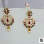 Gold Ruby Emerald Stone Earrings