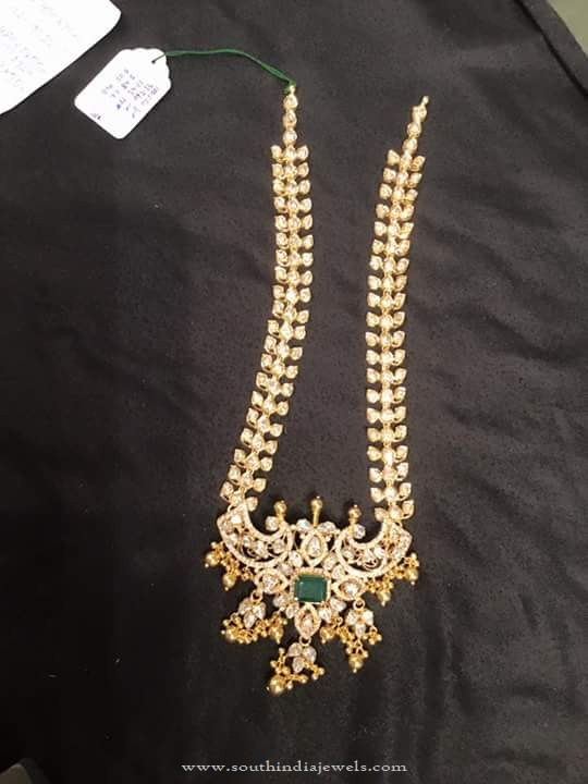Hyderabad Style Gold Long Stone Necklace