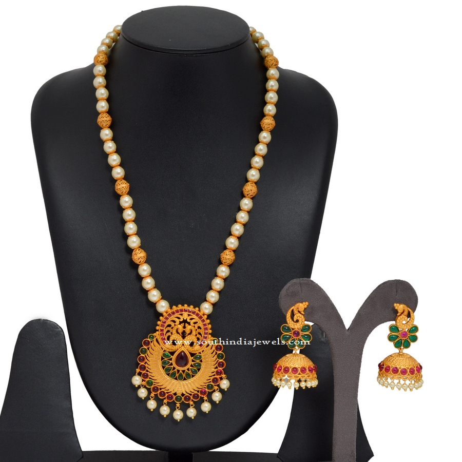 Long Pearl Chain with Antique Pendant