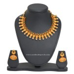 Simple 1 Gm Gold Pearl Necklace and Jhumka