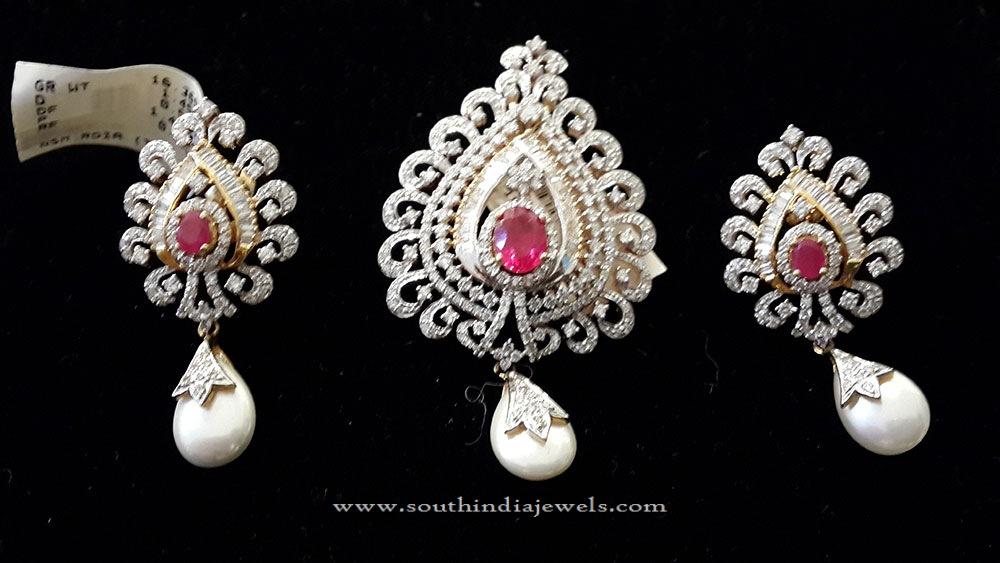 Diamond Pendant & Earrings for Chains