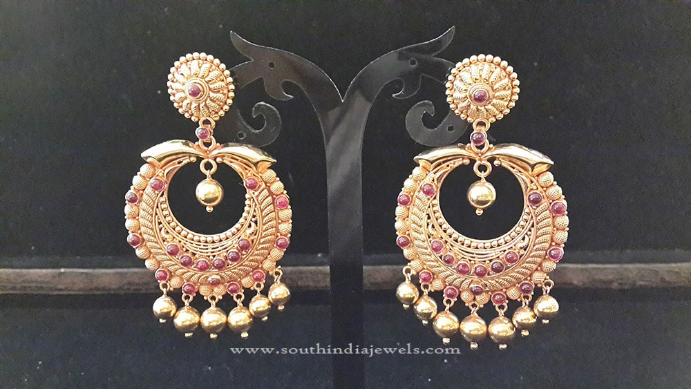 Big Gold Ruby Antique Earrings