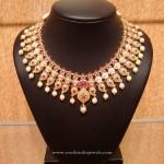 Gold Bridal Ruby Choker Necklace Design