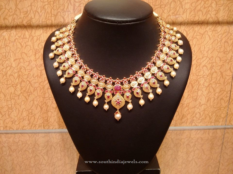 Gold Bridal Ruby Necklace Design