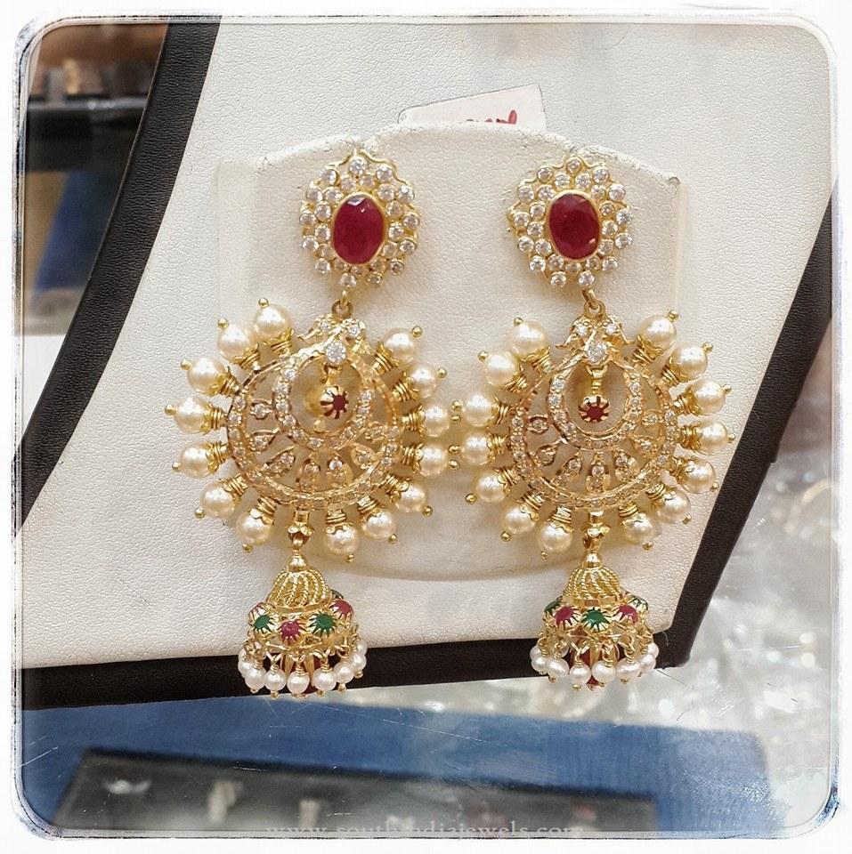Gold Pearl Chandbali Earrings