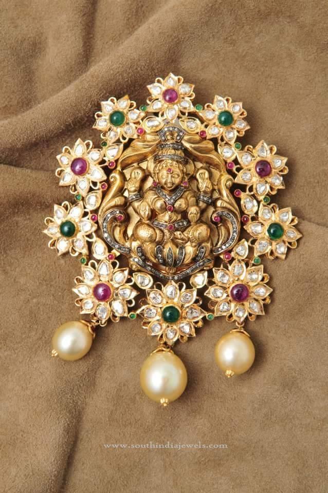 Gold Lakshmi Pendant with White Stones