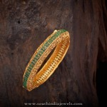 Gold Plated Antique Green Stone Bangle