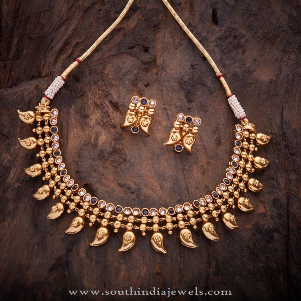 Gold Plated Antique Necklace and Earstud