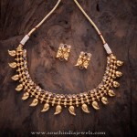 Gold Plated Antique Necklace and Ear Stud