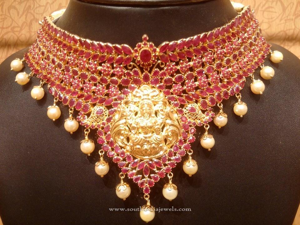 Gold Ruby Temple Lakshmi Choker Necklace