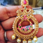 Gold Uncut Diamond Chandbali Earrings