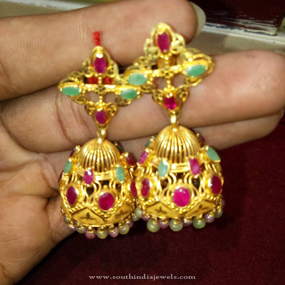 Light Weight Ruby Emerald Jhumka