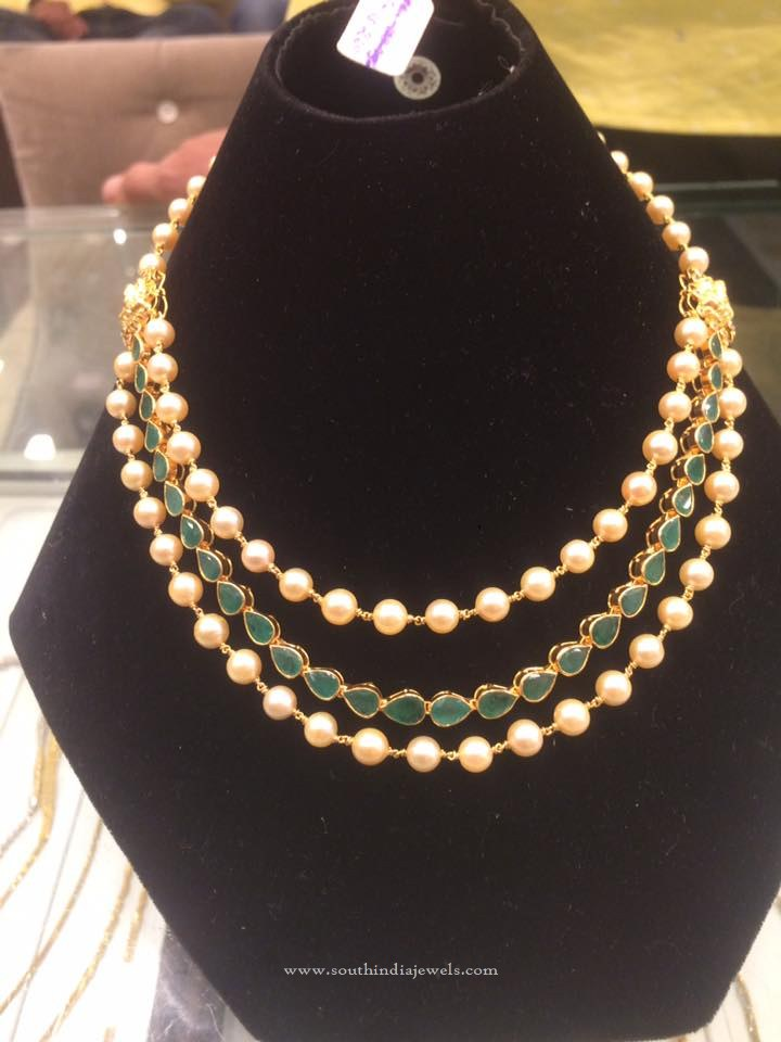 Layered Gold Pearl Emerald Necklace
