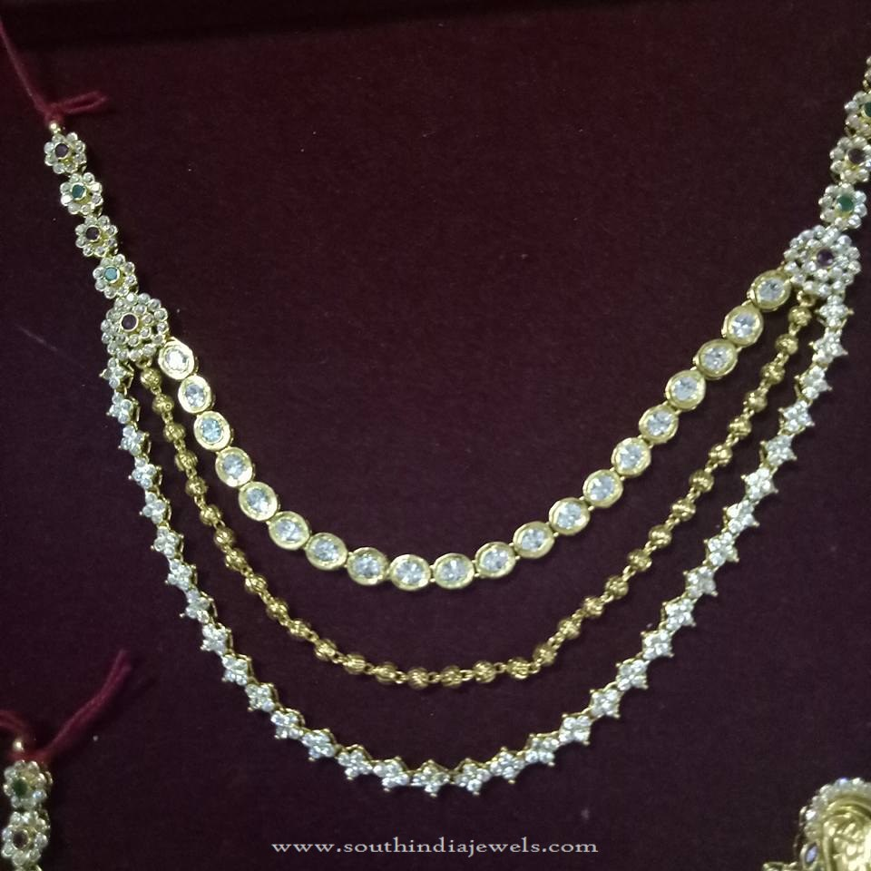 Multilayer Gold White Stone Necklace Set