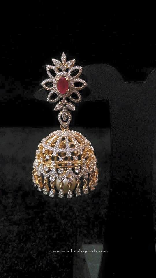 Diamond Ruby Jhumka Design