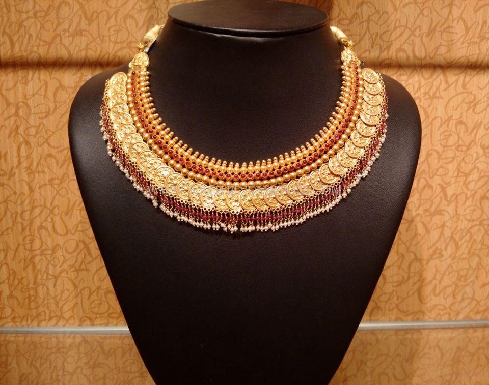 Gold Antique Coin Choker Necklace