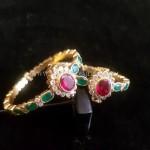 Gold Antique Emerald Bangles
