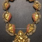 Gold Antique Ganesh Choker Necklace