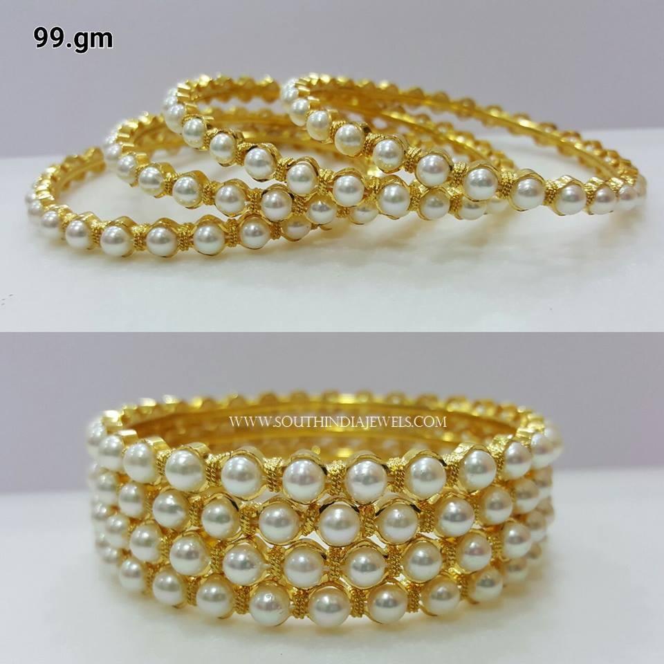 Gold Pearl Bangle Set
