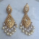 Gold Pearl Dangler Earrings