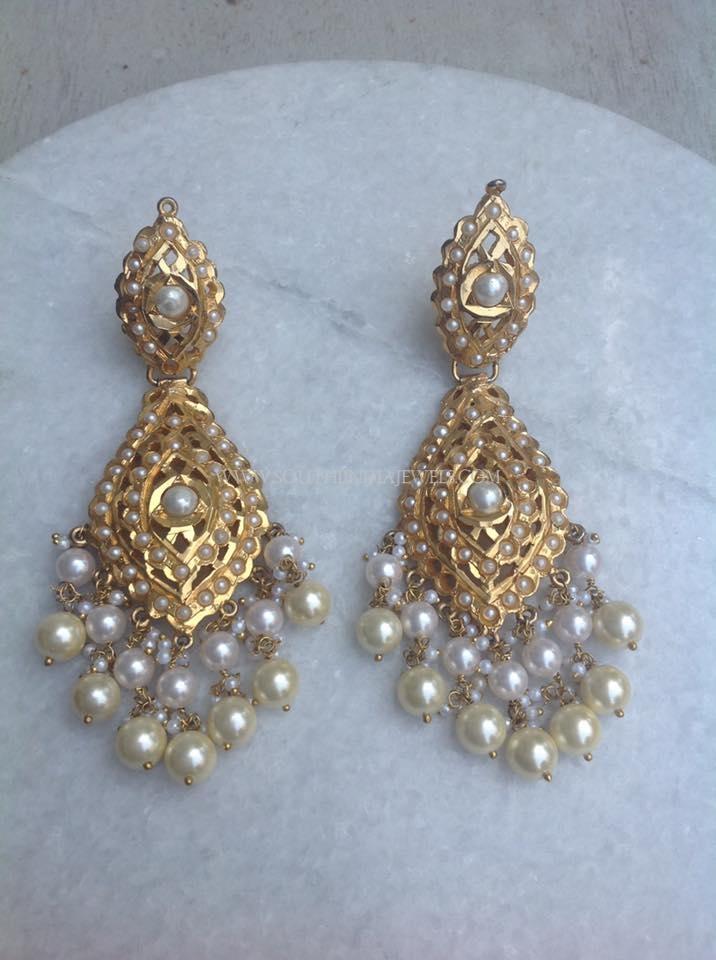 Gold Pearl Dangler Earrings