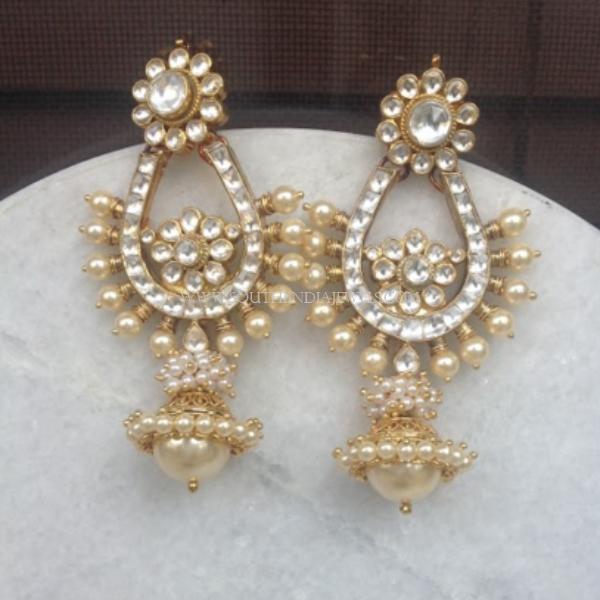 Gold Pearl Spike Earrings