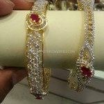 22K Gold Stone Bangle Design