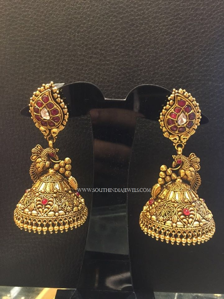Latest Gold Antique Jhumka from NSK
