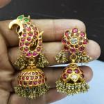 Peacock Design Earrings in Gold