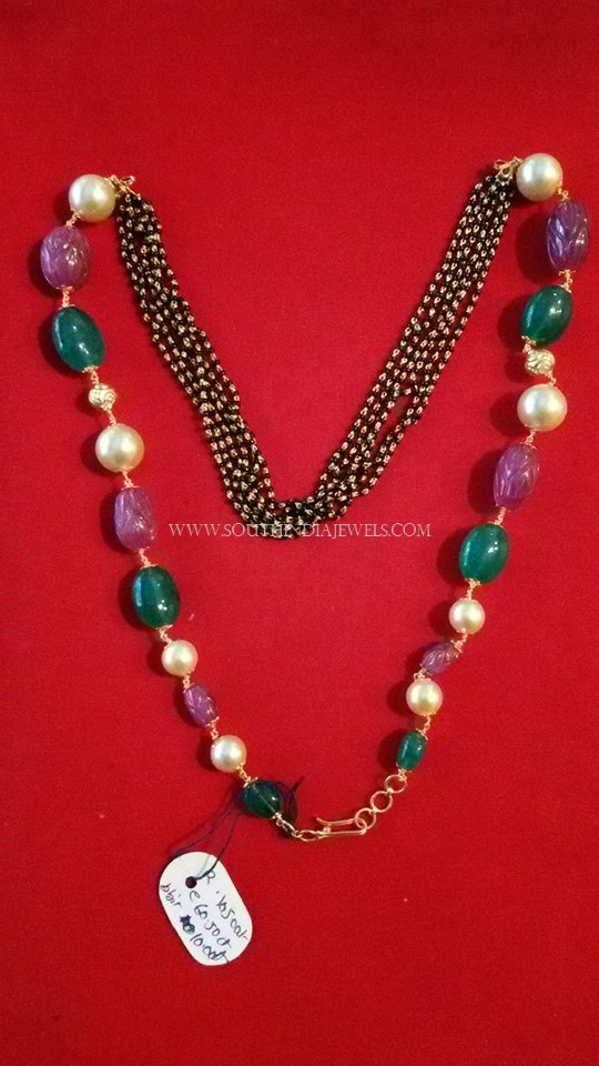 Black Bead Mala with Rubies and Emeralds