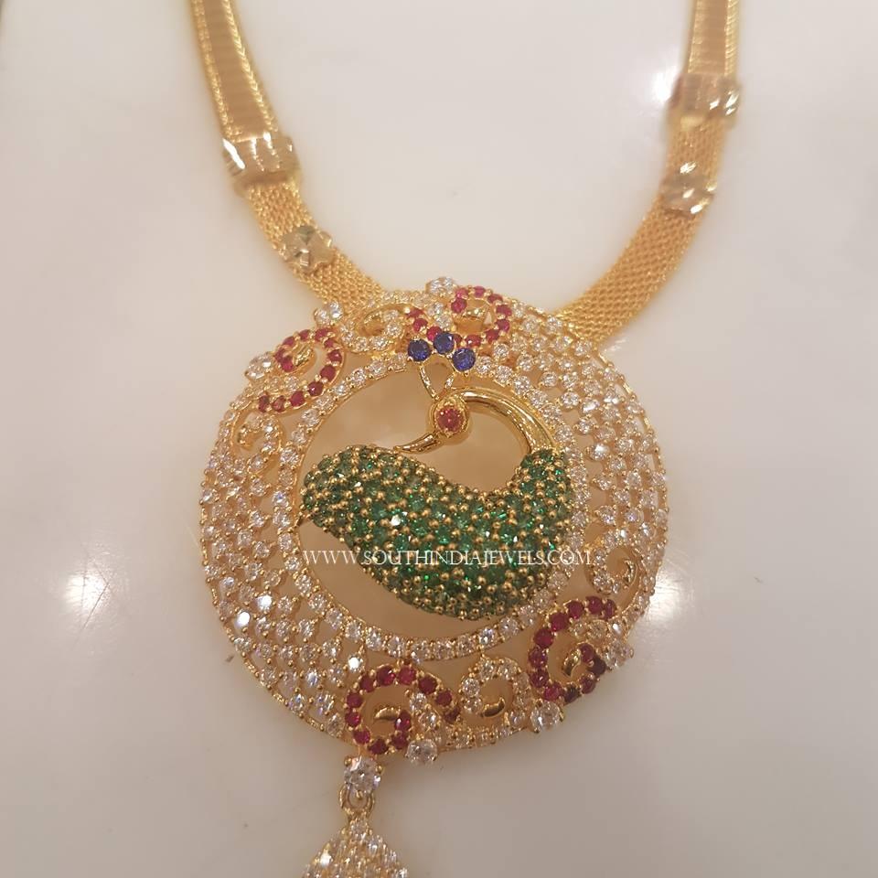Short CZ Stone Gold Necklace Design