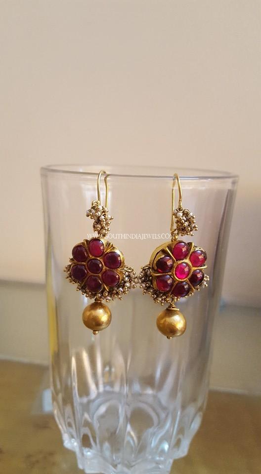 Antique Ruby Hoop Earrings
