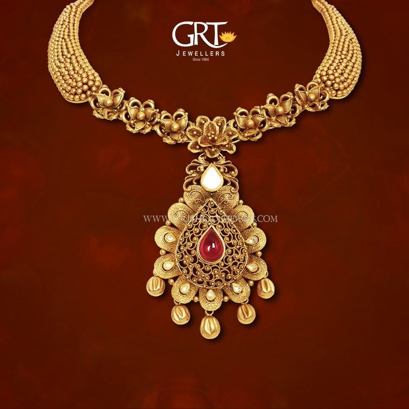 Designer Gold Necklace From GRT South India Jewels