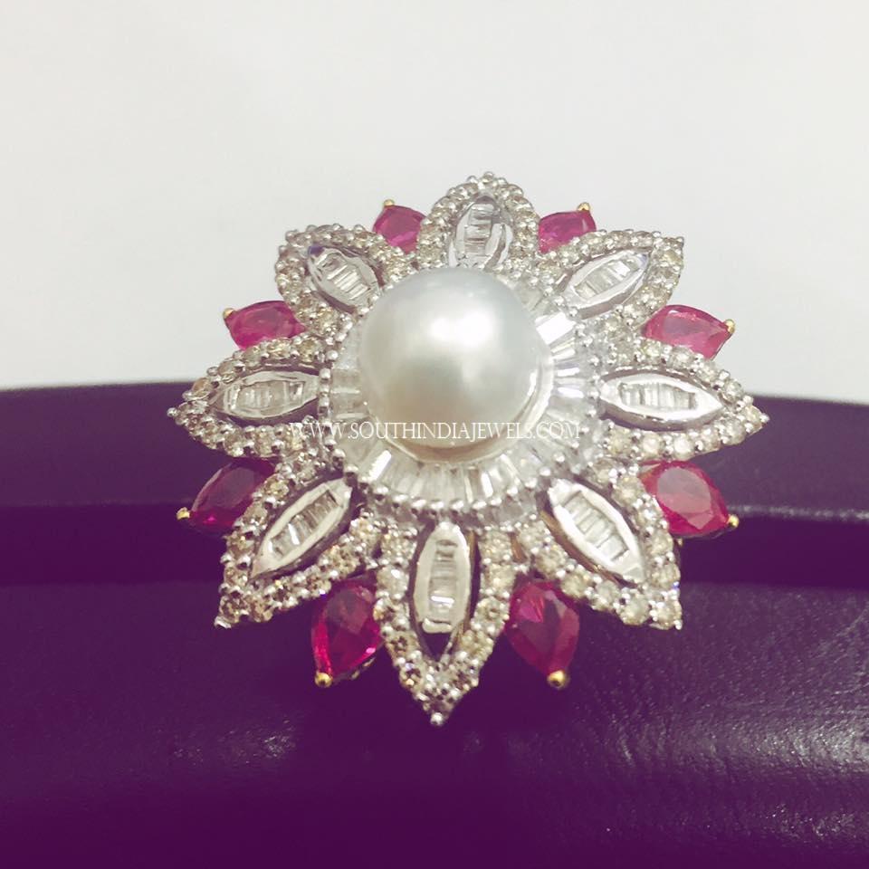 Huge Diamond Pearl Ring