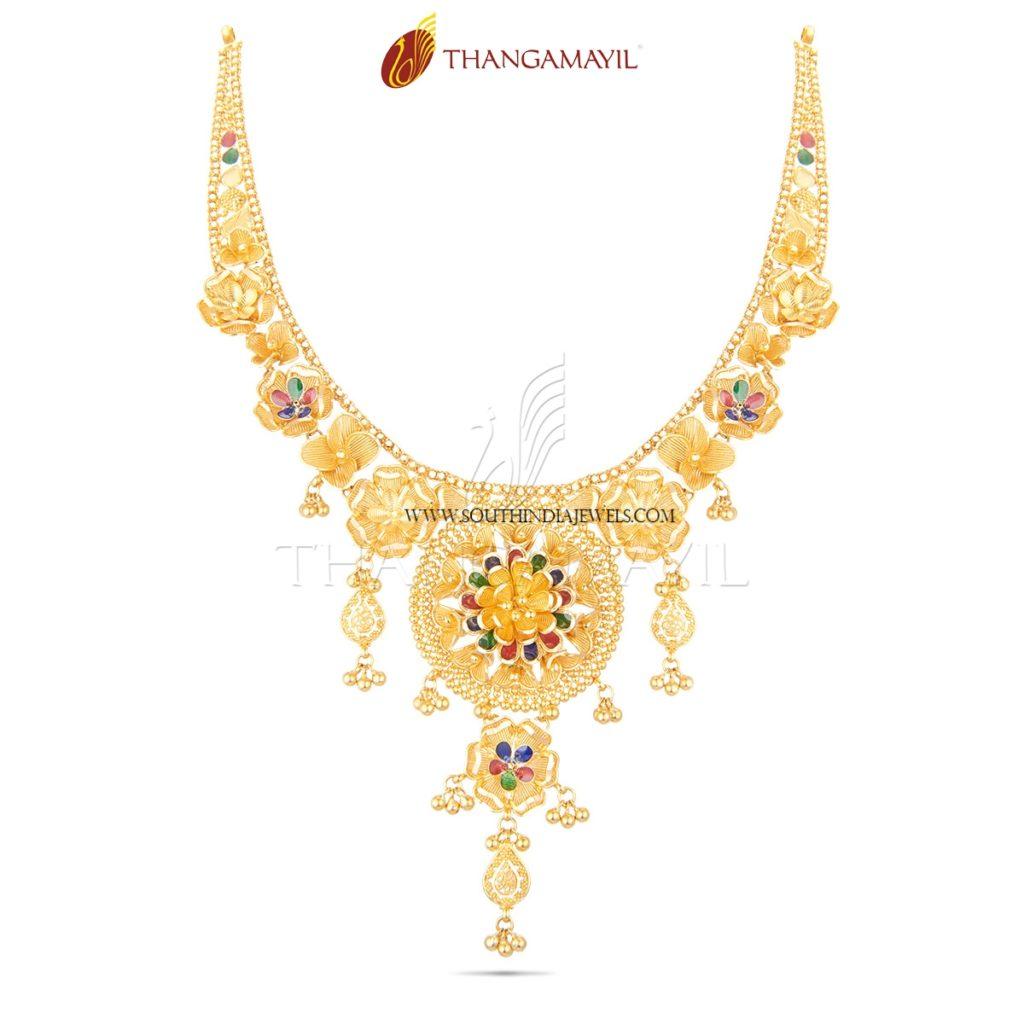 Gold Enamel Necklace From Thangamayil