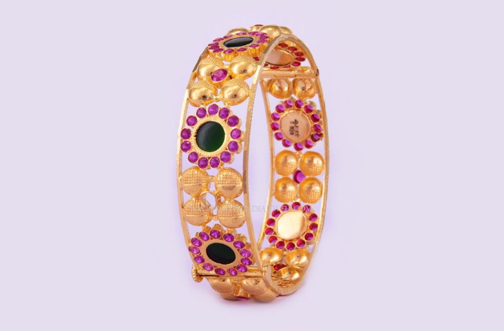 Gold Bangles With Pink Stones