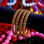 Gold Black Beaded Bangles Design