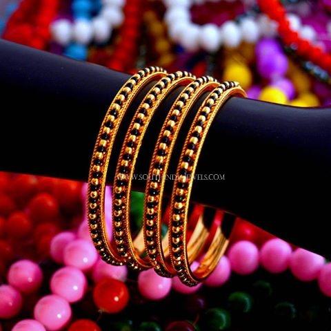 Gold Black Beaded Bangles Design